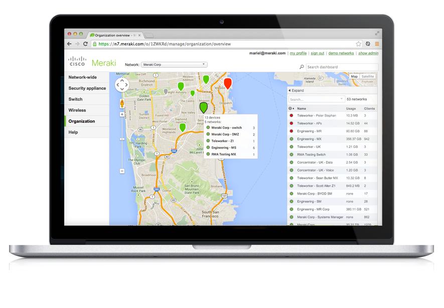 Cisco Meraki Dashboard, Karte mit Niederlassungen