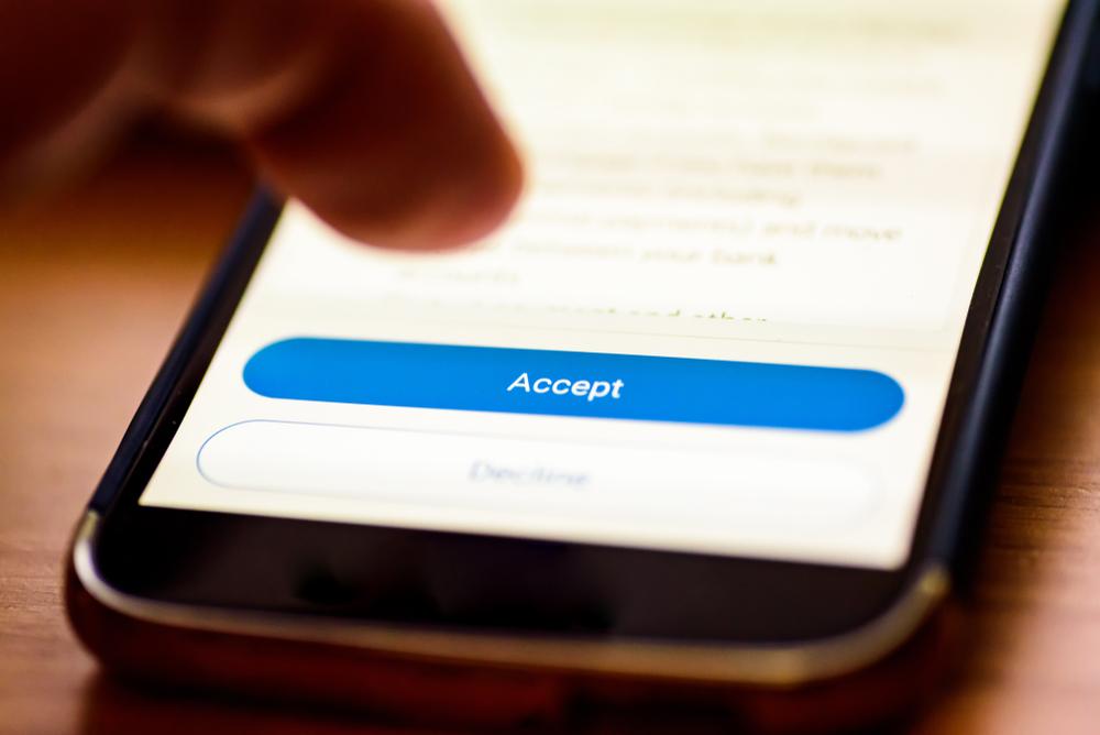 Accept Button auf einem Smartphone