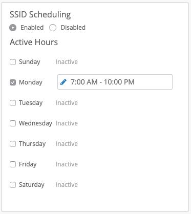Mist SSID Scheduling Konfiguration